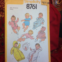 Multiple Baby Outfits Pattern Simplicity 8761 Uncut- Vintage 1970's
