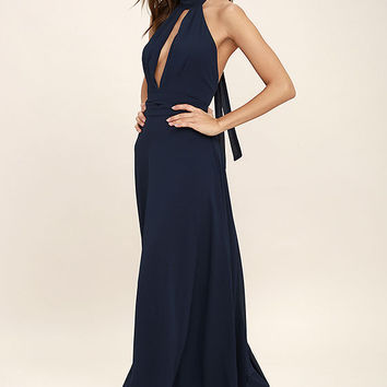 First Comes Love Navy Blue Maxi Dress