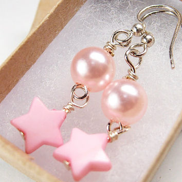 Pink Star Earrings - Japanese Fashion Fairy Kei Jewelry, Pastel Beads