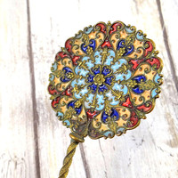 Antique Victorian French Brass Champlevé Enamel Spoon