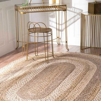 NuLOOM Charlene Braided Border Jute  Rug Natural