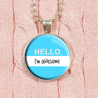 Glass Resin Charm, Funny Quote Jewelry, Humor Necklace, Blue Resin Charm, Resin Dome Pendant