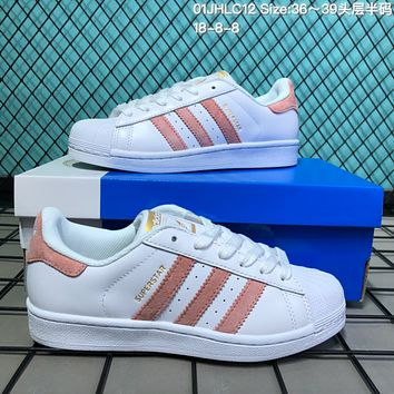 HCXX A125 Adidas Superstar Fashion Casual Campus Shoes White Pink