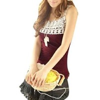 Allegra K Women Dots Print Lace Square Neckline Knit Tank Top Burgundy XS