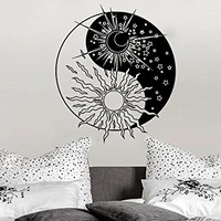 Wall Decal Sun Moon Sunshine Stars Yoga Crescent Dual Ethnic Night Symbol Vinyl Sticker Decals Nursery Home Decor Bedroom Art Design Interior NS828