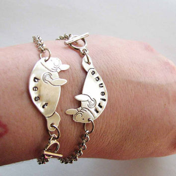 best friends manatee bracelet set - silver personalized custom bff jewelry