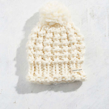 Wooly Hand Knit Pompom Beanie - Urban Outfitters
