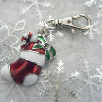 Christmas Stocking  Zipper Pull Purse Jewelry Colorful Red White Enamel Charm Journal Planner Charm