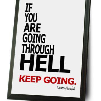 Going Through Hell, Keep Going Typography Wall Plaque