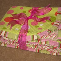 Baby Quilt /  Baby Blanket - green & pink bubbles, modern pattern, chenille, cotton fabric