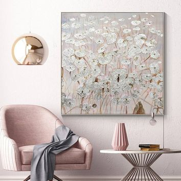 Silver leaf Acrylic abstract Paintings On Canvas original art flower painting Large texture wall pictures home decor cuadros abstractos