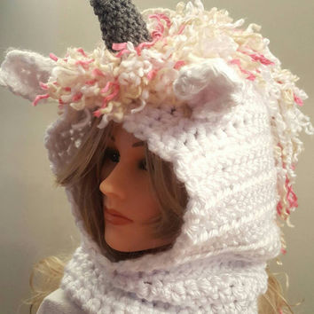 Hooded Unicorn ear cowl. crochet. Made by Bead Gs on ETSY. size 4 to 10 years.  Unicorn hat. ears.