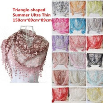 Lace Hollow Hook Floral Women Long Scarf Wrap Ladies Shawl Girls Large Silk Scarves [8321370055]
