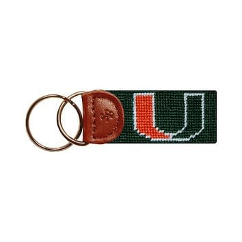 University of Miami Needlepoint Key Fob in Green by Smathers & Branson