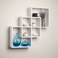 Danya B. Intersecting Squares Decorative White Wall Shelf