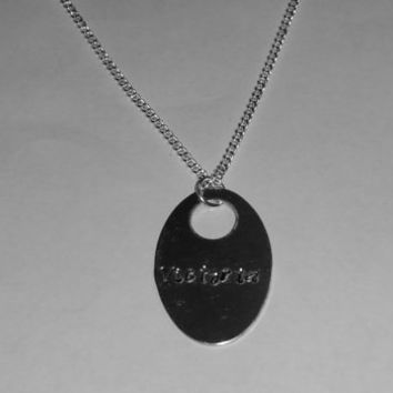 Handstamped necklace, silver necklace, gifts for her, women jewelry, girls necklace, handstamped charm, children necklace, silver chain