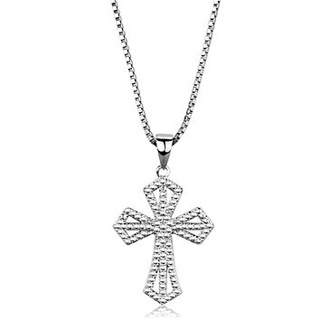 Shining Cross - Women's Brass Chain Cross Pendant Rhodium Necklace