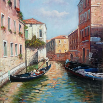 Italian painting Venice cityscape with gondola original oil on canvas of Ernesto Di Michele Italy Italia Venezia