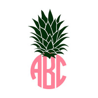 Pineapple Monogram Decal Sticker