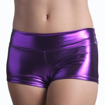 Purple (Metallic) Solid Color Booty Shorts