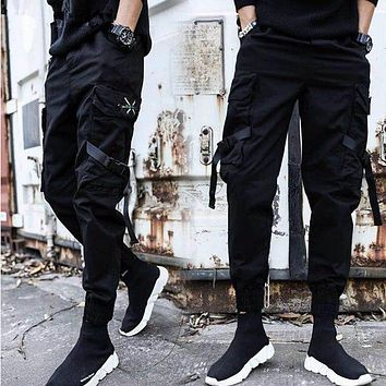 Streetwear Ribbons Casual Pants Men Black Slim Mens Joggers Pants Side-pockets Cotton Camouflage Man Trousers