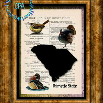 SOUTH CAROLINA State Black Silhouette, State Birds, State Nickname Art - Beautifully Upcycled Vintage Dictionary Page Book Art Print
