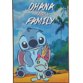 Disney Lilo & Stitch Ohana Means Family Wood Wall Art