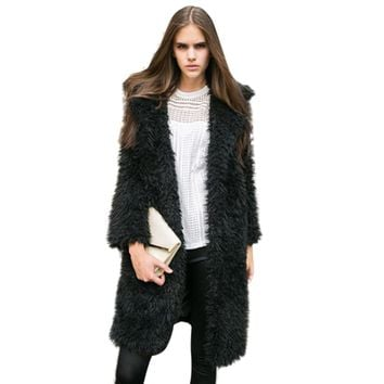 Winter Women Faux Fur Lambswool Jacket Female Turn-down Collar Long Sleeve Pink Fur Jacket Overcoat Ladies Cardigan Casaco