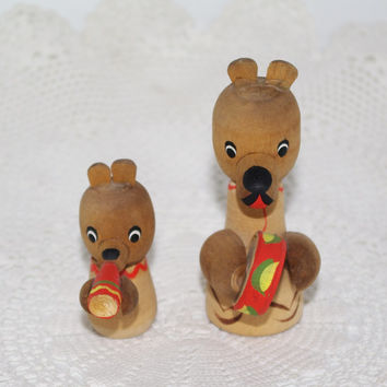 Rare Russian Wood Circus Bear Toy~ Set of 2: Big & Small ~ Soviet era Nostalgia ~ Hand Painted Folk Art ~collectible toy collector's item