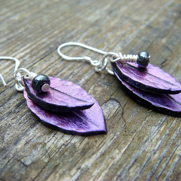 Purple and Red Leaf Earrings  Polymer Clay Jewelry  by JustClayin