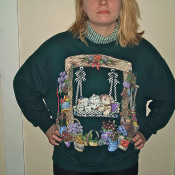 90s Hunter Green Turtle Neck Cat Crewneck Sweatshirt Dog Sweater