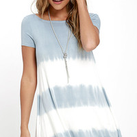 Bae Breeze Light Blue Tie-Dye Dress