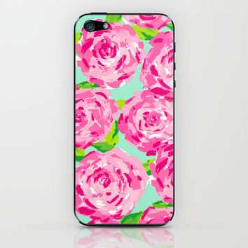 Roses (Lilly Pulitzer style) iPhone & iPod Skin by uramarinka