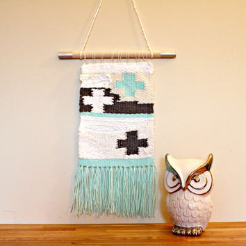 Modern Weaving, Wool, OOAK, Crosses, Mint, Charcoal Grey, White, Cream, Fringed, Nursery, Wallhanging, Fiber Art, Textured