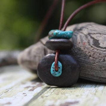Beach stone necklace, Lake Superior rock necklace, river rock necklace, beach pebble, Zen, cairn necklace, stone and turquoise