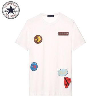 Converse New Commendation Medal Commemorative Couple Short Sleeve T-Shirt white