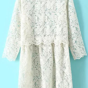 Beige Round Neck Embroidered Lace Dress