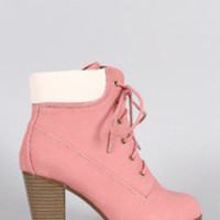 Women's Lace Up Chunky Heel Ankle Work Bootie