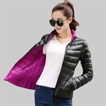 Two side wear Women Coat 2016 Autumn Winter Fashion Cotton Down Women Jacket Female Parkas Casual Basic Jackets Plus Size