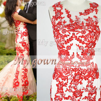 Red Prom Dress,Straps Mermaid Lace Beading Prom dress, Wedding Dress,Homecoming Dress,Evening Gowns
