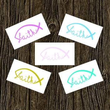 Faith Fish Decal | Faith Jesus Fish Monogram Decal | Faith Hope Love Vinyl Sticker Car Sticker | Car Vinyl Decal | Car Bumper Sticker
