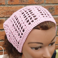 Crochet Bandana, Crochet Headband, Crochet Kerchief, Women Accessories,Bandand in Pink, UK Seller