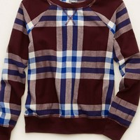 Aerie Women's Plaid Sweatshirt (Maroon)
