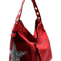Ivory | Red | Beige Rhinestone Star Hobo Handbag