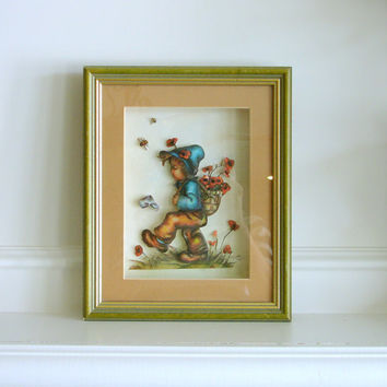 Vintage Hummel Style Shadow Box, Paper Tole 3D Three Dimesional Wall Art, Handmade, Childrens Room Picture Artwork Flowers Bees Boy