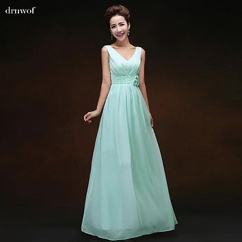 Cheap 2017 New Double Shoulder V Neck Bridesmaid Dress Long A-Line Lace Up Married Bride Formal Dresses Custom Made Plus Size