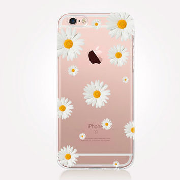 Transparent Daisy iPhone Case- Transparent Case - Clear Case - Transparent iPhone 6 - Transparent iPhone 5 - Samsung S7 - Gel Case