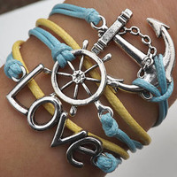 Unisex  simple fashion silver LOVE, anchor and rudder pendant leather braided bracelet--blue and yellow wax rope braided leather bracelet