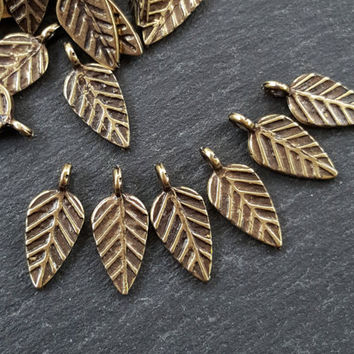 Stamped Leaf Drop Charms Autumn Leaves Fall Antique Bronze Plated Turkish Jewelry Making Supplies Findings Components - 15pc