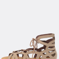 Open Toe Cut Out Sandals TAUPE | MakeMeChic.COM